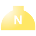 Disegno di un'ogiva di colore giallo con una lettera N vernicitata sopra