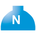 Disegno di un'ogiva di coloreblu chiaro con una lettera N vernicitata sopra