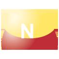 Disegno di un'ogiva di colore giallo e rosso con una lettera N vernicitata sopra