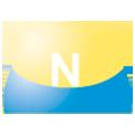 Disegno di un'ogiva di colore giallo e blu chiaro con una lettera N vernicitata sopra