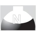 Disegno di un'ogiva di colore bianco e nero con una lettera N vernicitata sopra