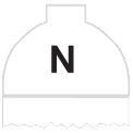 Disegno di un'ogiva di colore bianco ed il corpo bianco con una lettera N vernicitata sopra