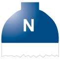 Disegno di un'ogiva di colore blu ed il corpo bianco con una lettera N vernicitata sopra