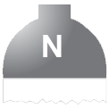 Disegno di un'ogiva di colore grigio ed il corpo bianco con una lettera N vernicitata sopra