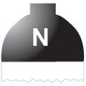 Disegno di un'ogiva di colore nero ed il corpo bianco con una lettera N vernicitata sopra