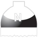 Disegno di un'ogiva di colore bianco e nero ed il corpo bianco con una lettera N vernicitata sopra
