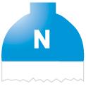 Disegno di un'ogiva di colore blu chiaro ed il corpo bianco con una lettera N vernicitata sopra
