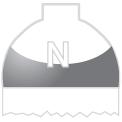 Disegno di un'ogiva di colore bianco e blu ed il corpo bianco con una lettera N vernicitata sopra